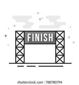 Finish line icon in flat outlined grayscale style. Vector illustration.