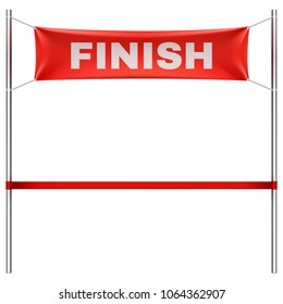Finish line with red textile banner and ribbon vector illustration isolated on white background. Finish sport race, victory and success finishing
