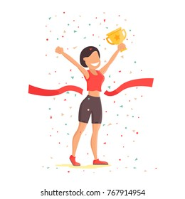 Finish Line Woman Athletic Sportswoman. Win Concept. Marathon Athlete. Sport of Athletic Sporting Competition. Infographic events Vector Illustration