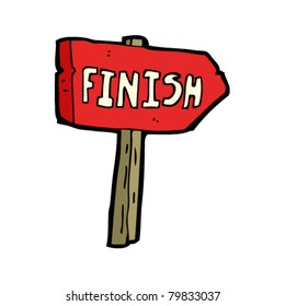 finish sign cartoon