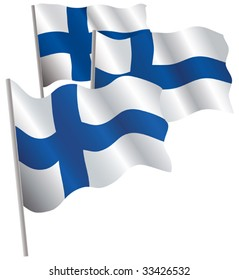 Finland 3d flag. Vector illustration. Isolated on white.