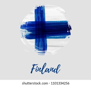 Finland background with watercolored flag in grunge round shape. Independence day template design. Template for invitation, poster, flyer, etc.