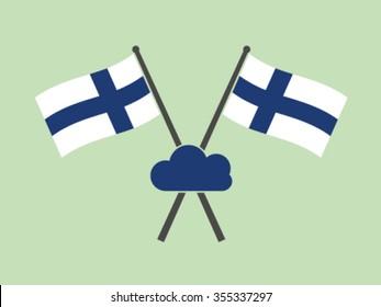 Finland Emblem Flag Cloud Computing