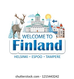 Finland emblem lettering illustration with traditional national symbols of the country