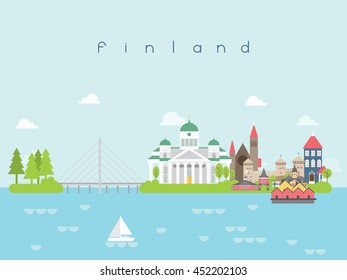 Finland Famous Landmarks Infographic Templates for Traveling Minimal Style and Icon, Symbol Set Vector Illustration Can be use for Poster Travel book, Postcard, Billboard.