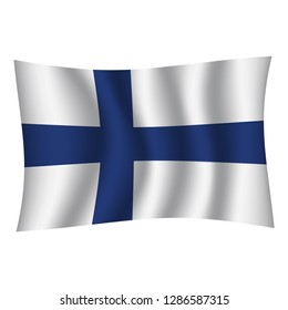 Finland flag background with cloth texture. Finland Flag vector illustration eps10. - Vector