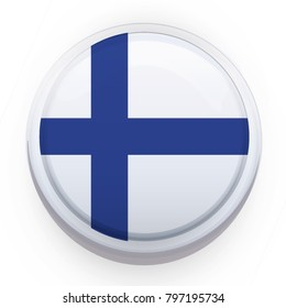 Finland flag button on white