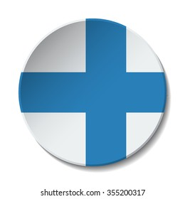 Finland Flag Button. Vector icon flag of Finland on white background. Paper cut style country flag.