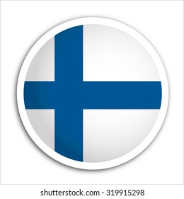 Finland flag Button Vector - flag icons