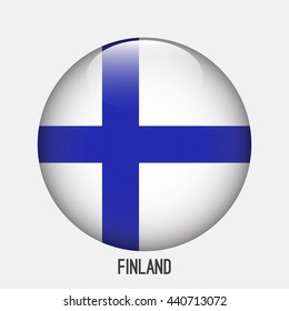 Finland flag in circle shape. Transparent,glossy,glass button