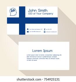 finland flag color business card design eps10