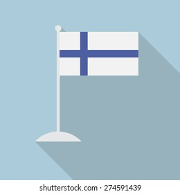 Finland flag with flagpole flat icon with long shadow. Vector illustration EPS10