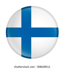 Finland flag Glossy Button - Vector