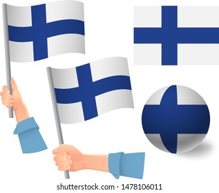 Finland flag in hand set. Ball flag. National flag of Finland vector illustration