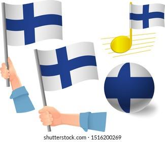 Finland flag icon set. National flag of Finland vector illustration