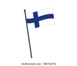 Finland flag. The national flag of Finland on a pole. The waving flag. The sign and symbol of the country. Realistic vector on white.