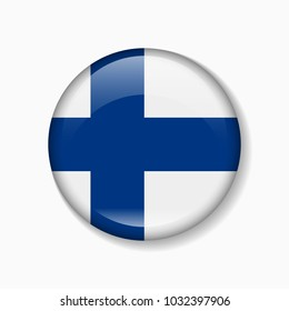 Finland flag round badge or icon isolated on white background. Vector illustration.