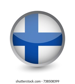 Finland Flag Round Glossy Icon. Vector illustration.