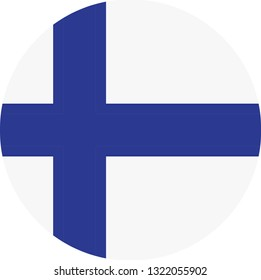 Finland flag. Simple vector round Finland  flag
