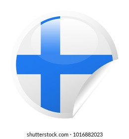 Finland Flag Vector Round Corner Paper Icon - Illustration
