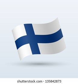 Finland flag waving form on gray background. Vector illustration.