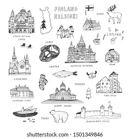 Finland Helsinki architecture objects hand drawn vector illustrations set