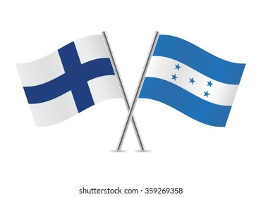 Finland and Honduras flags. Vector illustration.