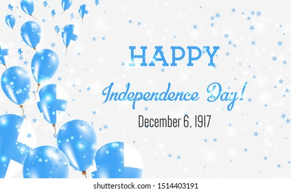 Finland Independence Day Greeting Card. Flying Balloons in Finland National Colors. Happy Independence Day Finland Vector Illustration.