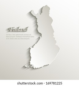 Finland map card paper 3D natural vector