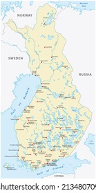 finland map, cities in Finnish and Swedish language
