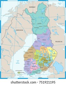 Finland Map - High Detailed Vector Illustration