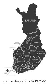 Finland Map labelled black illustration in English language