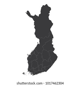 Finland map on white background vector, Finland Map Outline Shape Black on White Vector Illustration, High detailed black illustration map -Finland.