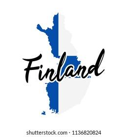 Finland Map Silhouette Flag Button Vector Art Design Patriotic Symbol