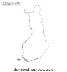 finland map vector line illustration on white background