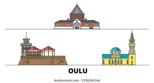Finland, Oulu flat landmarks vector illustration. Finland, Oulu line city with famous travel sights, skyline, design.