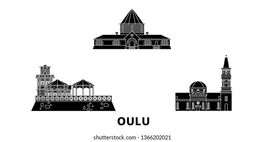 Finland, Oulu flat travel skyline set. Finland, Oulu black city vector illustration, symbol, travel sights, landmarks.