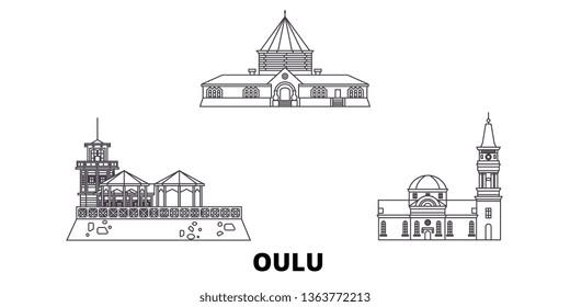 Finland, Oulu line travel skyline set. Finland, Oulu outline city vector illustration, symbol, travel sights, landmarks.