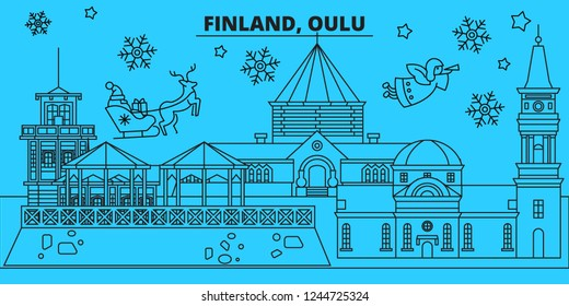 Finland, Oulu winter holidays skyline. Merry Christmas, Happy New Year decorated banner with Santa Claus.Finland, Oulu linear christmas city vector flat illustration