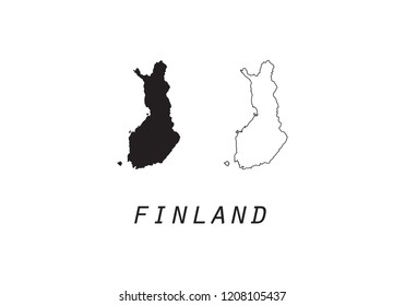 Finland outline map country shape state borders