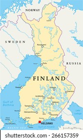 Finland Political Map with capital Helsinki, national borders, important cities, rivers and lakes. English labeling and scaling. Illustration.