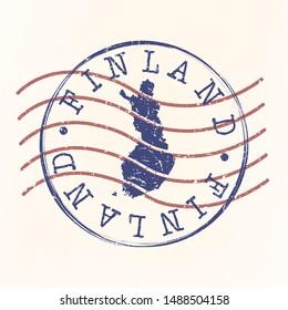 Finland Stamp Postal. Map Silhouette Seal. Passport Round Design. Vector Icon. Design Retro Travel.
