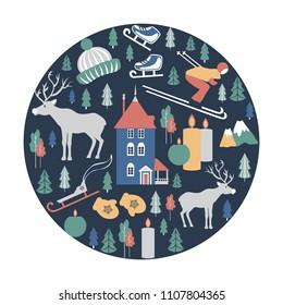 Finland travel cartoon vector round frame, Finnish landmark, Moomin House in Park Moomin world, Oulu, symbols, animals, flat building illustration, decorative winter scandinavian background for design