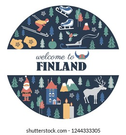 Finland travel cartoon vector round frame, Finnish landmark, Park Moomin world, Oulu, animal, clothing, flat building illustration, decorative winter scandinavian background for travel winter design