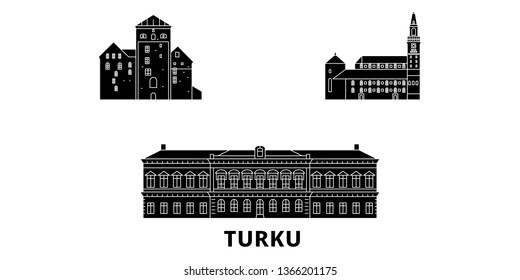 Finland, Turku flat travel skyline set. Finland, Turku black city vector illustration, symbol, travel sights, landmarks.