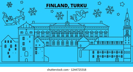 Finland, Turku winter holidays skyline. Merry Christmas, Happy New Year decorated banner with Santa Claus.Finland, Turku linear christmas city vector flat illustration