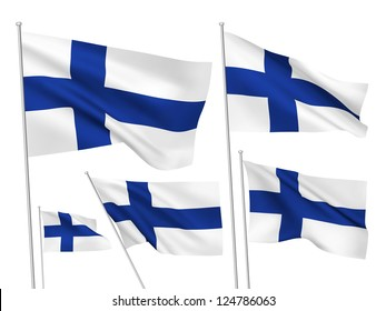 Finland vector flags set. 5 wavy 3D cloth pennants fluttering on the wind. EPS 8 created using gradient meshes isolated on white background. Five fabric flagstaff design elements from world collection