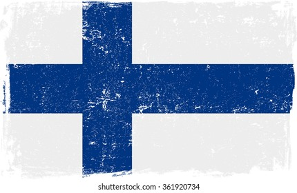 Finland vector grunge flag isolated on white background.