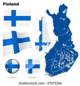 Finland vector set. Detailed country shape with region borders, flags and icons isolated on white background.