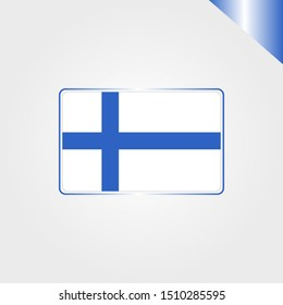 Finnish finlandia european world national country flag emblem vector design in flat trendy style with gradient for religion, travel, holidays sign on gray background
